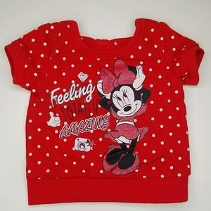 Minnie Bowed Back Short Sleeve Sweatshirt Red 0-3M